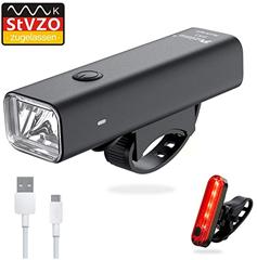 Bild zu Pezimu Fahrradlicht/Fahrradbeleuchtung LED Set – Frontlicht und Rücklicht für 9,98€