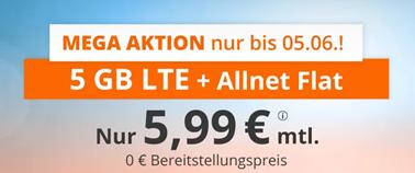 Bild zu [Top – nur noch heute] Sim.de: o2-Netz mit 5GB LTE Datenflat, SMS und Sprachflat für 5,99€/Monat – optional monatlich kündbar