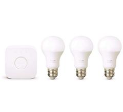 Bild zu Philips Hue W E27 3er Starter-Set White Lampe + 1 Bridge für 52,27€ (VG: 79,99€)