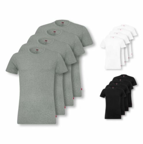 Bild zu 4er Pack Levi's Herren V-Neck T-Shirts Stretch Cotton (Grau, Schwarz oder Weiß) für 36,99€ (VG: 47,98€)