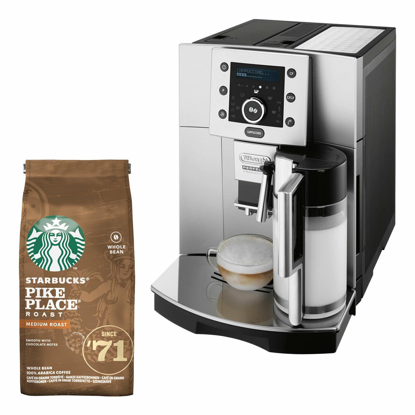 Bild zu Kaffeevollautomat DeLonghi ESAM 5500 und Starbucks Kaffeebohnen für 399,90€ (Vergleich: 445,50€)