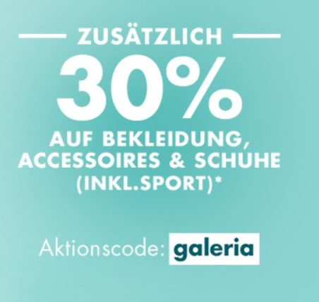 Bild zu [nur noch heute] Galeria: 30% Extra-Rabatt auf bereits reduzierte Bekleidung, Accessoires und Schuhe