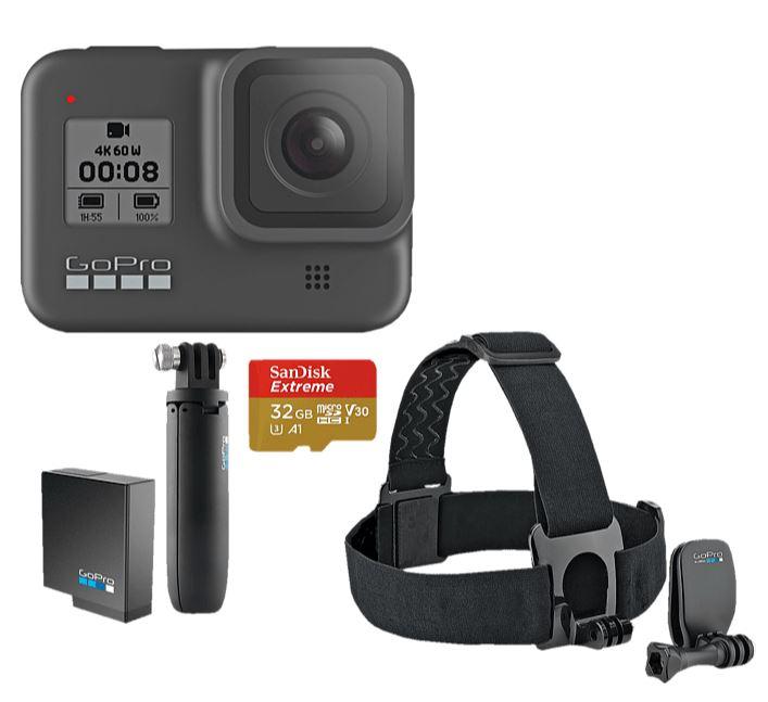 Bild zu GOPRO HERO8 Black Holiday Bundle Action Cam, WLAN, GPS, Schwarz für 324,61€ (VG: 369,45€)