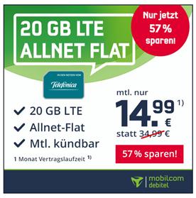 Bild zu MobilcomDebitel: monatlich kündbarer Tarif mit 20GB LTE Datenflat (bis zu 225Mbit), SMS und Sprachflat im o2 Netz für 14,99€ im Monat