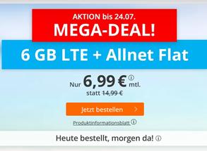 Bild zu SIM.de: Tarif im o2 Netz mit einer 6GB LTE Datenflat, SMS und Sprachflat für 6,99€/Monat (monatlich kündbar)