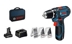 Bild zu Amazon.it: Bosch Professional 12V Akku-Bohrschrauber GSR 12V-15 (39 tlg. Zubehörset, 1x 2.0Ah + 1x 4.0Ah Akku, Ladegerät, in Tasche) für 103,60€ (Vergleich: 114,89€)