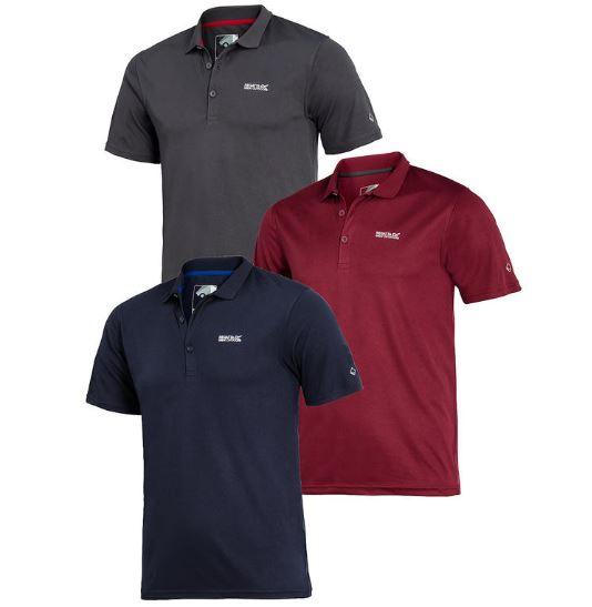 Bild zu 3er Pack Regatta Poloshirt mit Funktions-Gewebe für 39,89€ + Bernwald Fernglas gratis.