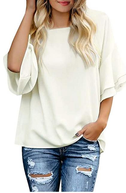Bild zu ORANDESIGNE Damen Bluse mit 3/4 Glockenärmel für 10,99€