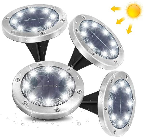 Bild zu 4er Pack AMBOTHER Solar Bodenleuchten (8 LEDs, 6000K Kaltweiß, IP65) für 13,19€
