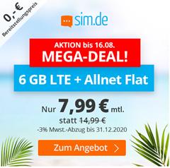 Bild zu Sim.de: o2-Netz mit 6GB LTE Datenflat, SMS und Sprachflat für 7,99€/Monat – optional ohne Mindestvertragslaufzeit