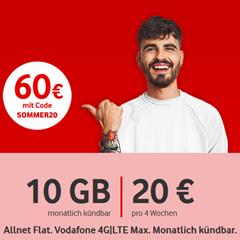 Bild zu [Knaller – letzte Chance] Vodafone CallYa Digital durch 60€ Startguthaben ganze 12 Wochen kostenlos (Allnet- & SMS-Flat, 10 GB LTE) – monatlich kündbar / 5G zubuchbar
