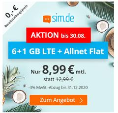 Bild zu Sim.de: o2-Netz mit 7GB LTE Datenflat, SMS und Sprachflat für 8,99€/Monat – optional ohne Mindestvertragslaufzeit