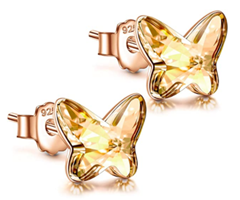 Bild zu ANGEL NINA – 925 Sterling Crystal Golden Shadow Ohrstecker für 8,99€