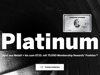 Bild zu American Express Platinum Card (55€/Monat) abschließen und 75.000 Membership Reward Points + 200€ Reiseguthaben pro Jahr + 200€ Sixt Guthaben erhalten