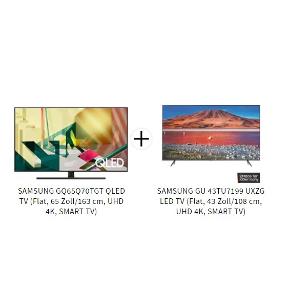 Bild zu SAMSUNG GQ65Q70TGT QLED TV + SAMSUNG GU43TU7199UXZG LED TV für 1367,63€ (VG: 1674,85€)