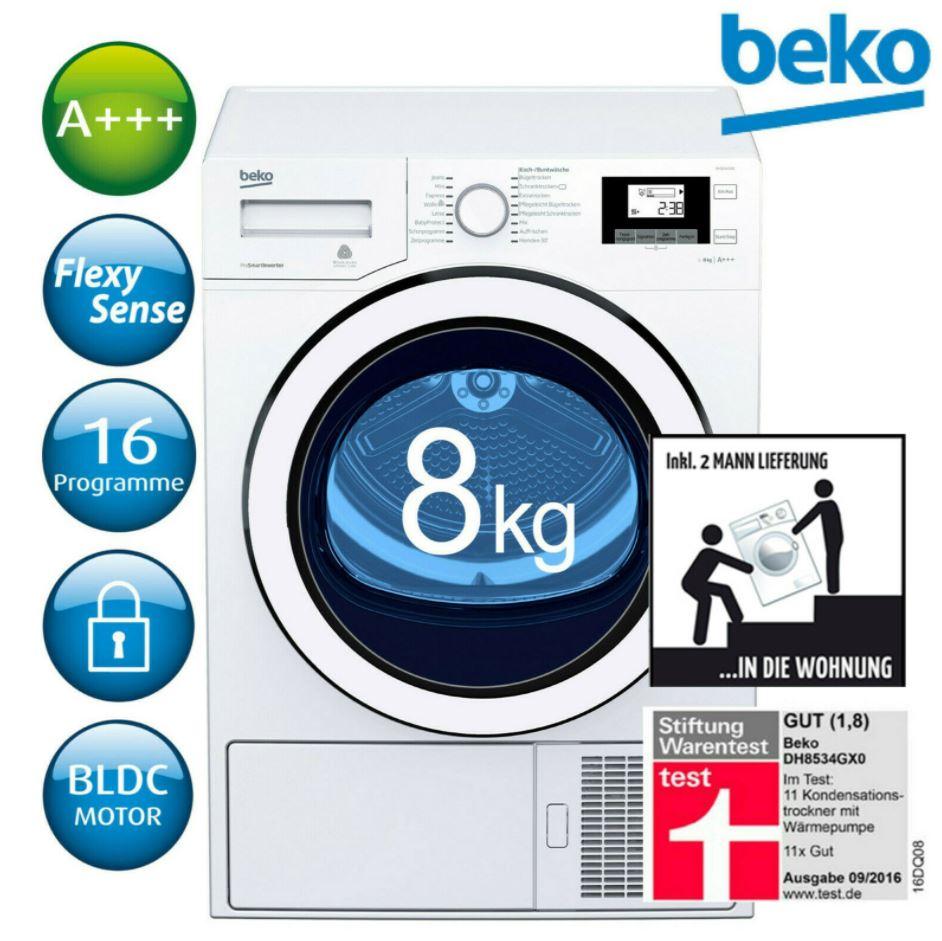 Bild zu BEKO Wäschetrockner A+++ Wärmepumpentrockner DH8534GX0 8kg für 399,90€ (VG: 444,44€)