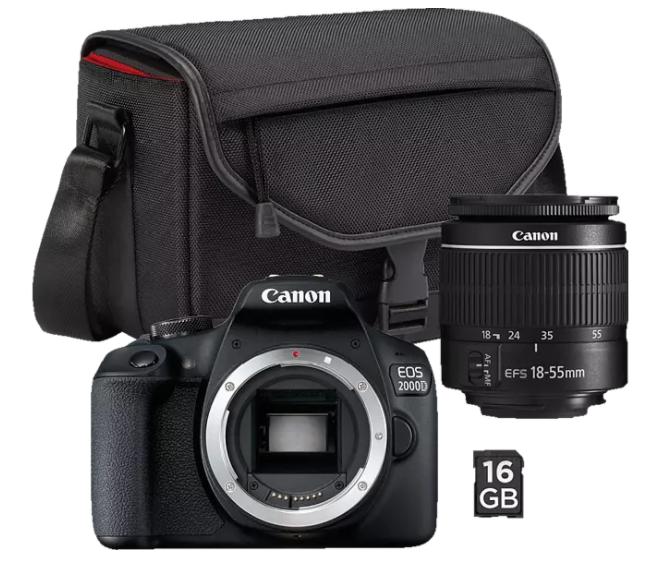 Bild zu CANON EOS 2000D Spiegelreflexkamera Kit für 291,47€ (VG: 324,87€) + Tasche SB130 und Speicherkarte SD 16GB