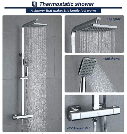 Bild zu HOMELODY Duschsystem mit Regendusche für 99,99€