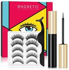 Bild zu Magnetische Wimpern (5 Paar, wiederverwendbar) inkl. magnetischem Eyeliner für 11,99€