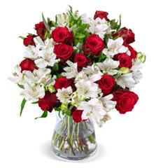 Bild zu Blume Ideal: Blumenstrauß mit 35 Roten Rosen und Inkalilien für 25,98€