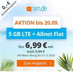 Bild zu [nur noch heute] Sim.de: o2-Netz mit 5GB LTE Datenflat, SMS und Sprachflat für 6,99€/Monat – optional ohne Mindestvertragslaufzeit