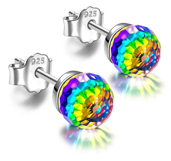 Bild zu Alex Perry 925 Sterling Silber bunte Regenbogen Ohrringe (Swarovski Kristall) für 9,99€