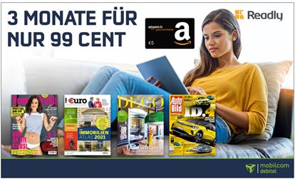 Bild zu [wieder da] 3 Monate Readly für 99 Cent + 5€ Amazon.de Gutschein = 4,01€ Gewinn (monatlich kündbar)