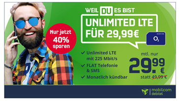 Bild zu [Super – wieder da] Allnet Flat, SMS Flat und unbegrenze Datenflat (bis 225 Mbit) im o2 Netz für 29,99€/Monat – monatlich kündbar