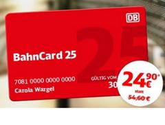 Bild zu Bahncard25 für 24,90€ (statt 54,60€) oder 1. Klasse für 69,90€ anstatt 109,90€