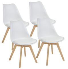 Bild zu 4er Set Esszimmerstühle AARHUS (Weiss mit Beinen aus Massiv-Holz, Buche) für 71,95€ (Vergleich: 89,95€)