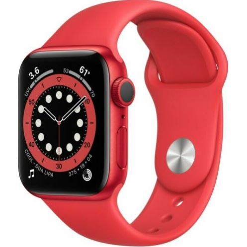 Bild zu Apple Watch Series 6 GPS Rot 40mm Aluminium Sportarmband PRODUCT(RED) für 368,91€ (VG: 397,49€)