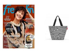 Bild zu 12 Monate freundin lesen + bis zu 85€ Prämie + gratis REISENTHEL Shopper M, zebra (VG: 15,96€) für 88,60€