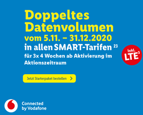 Bild zu Lidl Connect Starter Paket im Vodafone Netz nun 3 Monate mit doppelten Datenvolumen + versandkostenfrei mit 10€ Guthaben für 9,69€