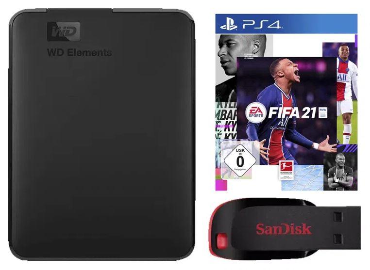 Bild zu [Vorbei] Fifa 21 (PS4) + WD Elements Portable 1TB + 32GB SanDisk Cruzer Blade für 49,71€ (VG: 93,22€)