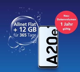 Bild zu 12 Monate Paket: Samsung Galaxy A20e (Vergleich: 138€) + O2 my Prepaid Jahrespaket inkl. 12GB LTE, SMS und Sprachflat für zusammen 149,99€