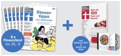 Bild zu 6 Ausgaben Finanztest (Vergleich: 31,98€) + Jahrbuch 2021 (Vergleich: 14,90€) + CD 2020 (Vergleich: 22,80€) für 25€