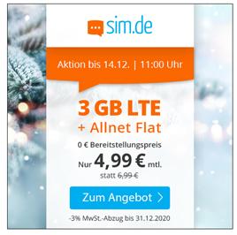 Bild zu sim.de: 3GB LTE Datenflat inkl. SMS und Sprachflat im o2 Netz für 4,99€/Monat (3 Monate kündigungsfrist)