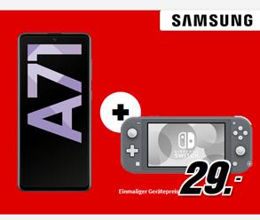 Bild zu SAMSUNG Galaxy A71 inkl. Nintendo Switch Lite für 29€ mit 3GB LTE Daten- und Sprachflat im Vodafone-Netz für 17,99€/Monat