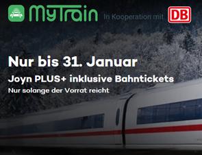 Bild zu MyTrain: 3 Monate Joyn+ und eine einfache Fahrt mit der DB (ICE etc.) für 34,90€ oder zwei einfache Fahrten inkl. 6 Monate Joyn+ für 59,90€