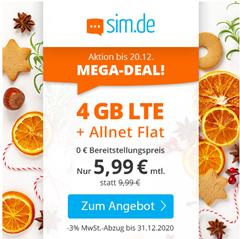 Bild zu [endet heute] Sim.de: o2-Netz mit 4GB LTE Datenflat, SMS und Sprachflat für 5,99€/Monat – optional ohne Mindestvertragslaufzeit