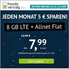 Bild zu [bis Di. 11 Uhr] Handyvertrag.de: 8GB LTE Datenflat inkl. SMS und Sprachflat im o2 Netz für 7,99€/Monat – monatlich kündbar