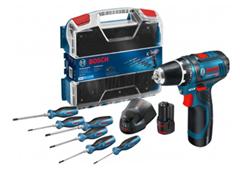 Bild zu Bosch GSR 12V-15 Professional Akkubohrschrauber Set inkl. 6 teiligem Schraubendreher-Satz für 104,76€ (Vergleich: 144,89€)