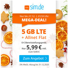 Bild zu [endet heute] Sim.de: o2-Netz mit 5GB LTE Datenflat, SMS und Sprachflat für 5,99€/Monat – optional ohne Mindestvertragslaufzeit