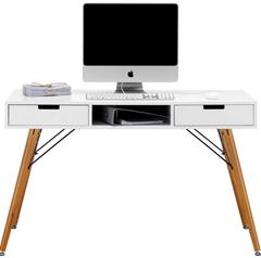 Bild zu Schreibtisch in Weiß/Braun Massiv für 96,25€ inklusive Versand