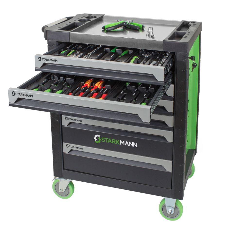Bild zu STARKMANN Blackline Werkzeugwagen 7 Schubladen inklusive 599 Teilen Werkzeugset für 299,99€ (VG: 432,99€)