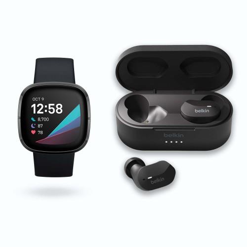 Bild zu Smartwatch Fitbit Sense + In-Ear Bluetooth Kopfhörer Belkin SoundForm für 309,95€ (Vergleich: 348,99€)