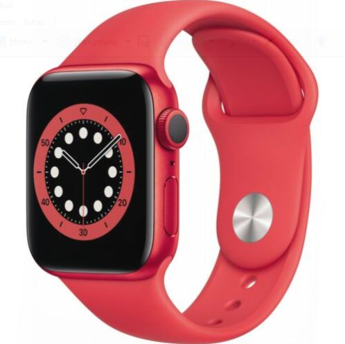 Bild zu Apple Watch Series 6 Rot Aluminium 40mm Sportarmband PRODUCT(RED) für 379,90€ (VG: 398,69€)