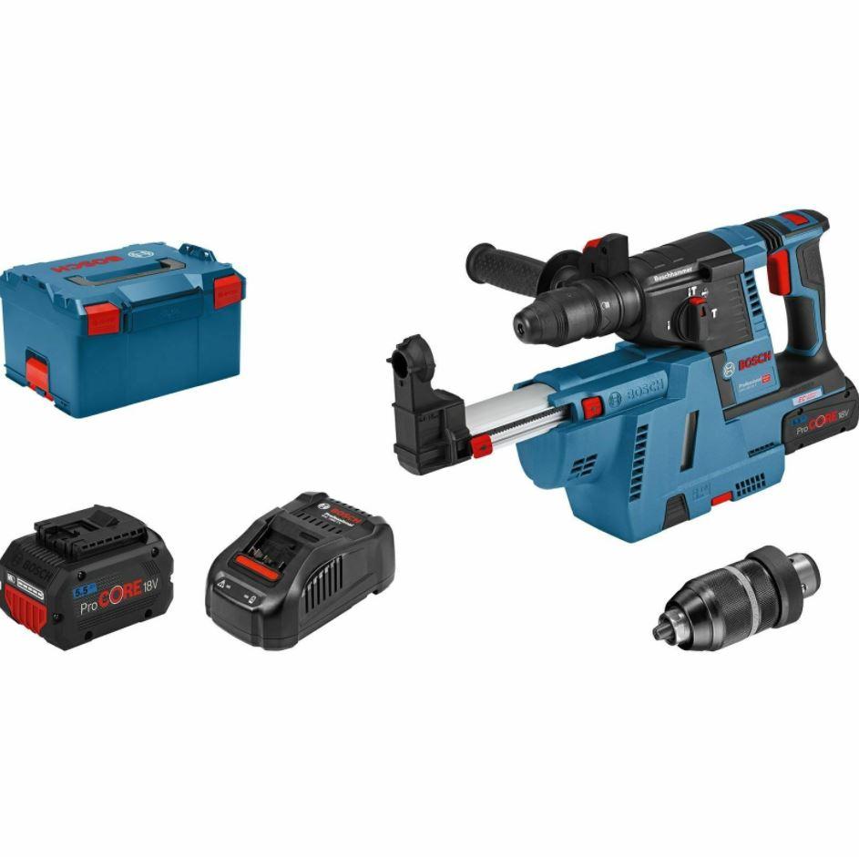 Bild zu Bosch Akku-Bohrhammer GBH 18V-26 F Professional + SDS Wechselfutter + 18 V / 2x 5,5Ah ProCORE Akku + Ladegerät in L-Boxx für nur 479€ (VG: 577,06€)