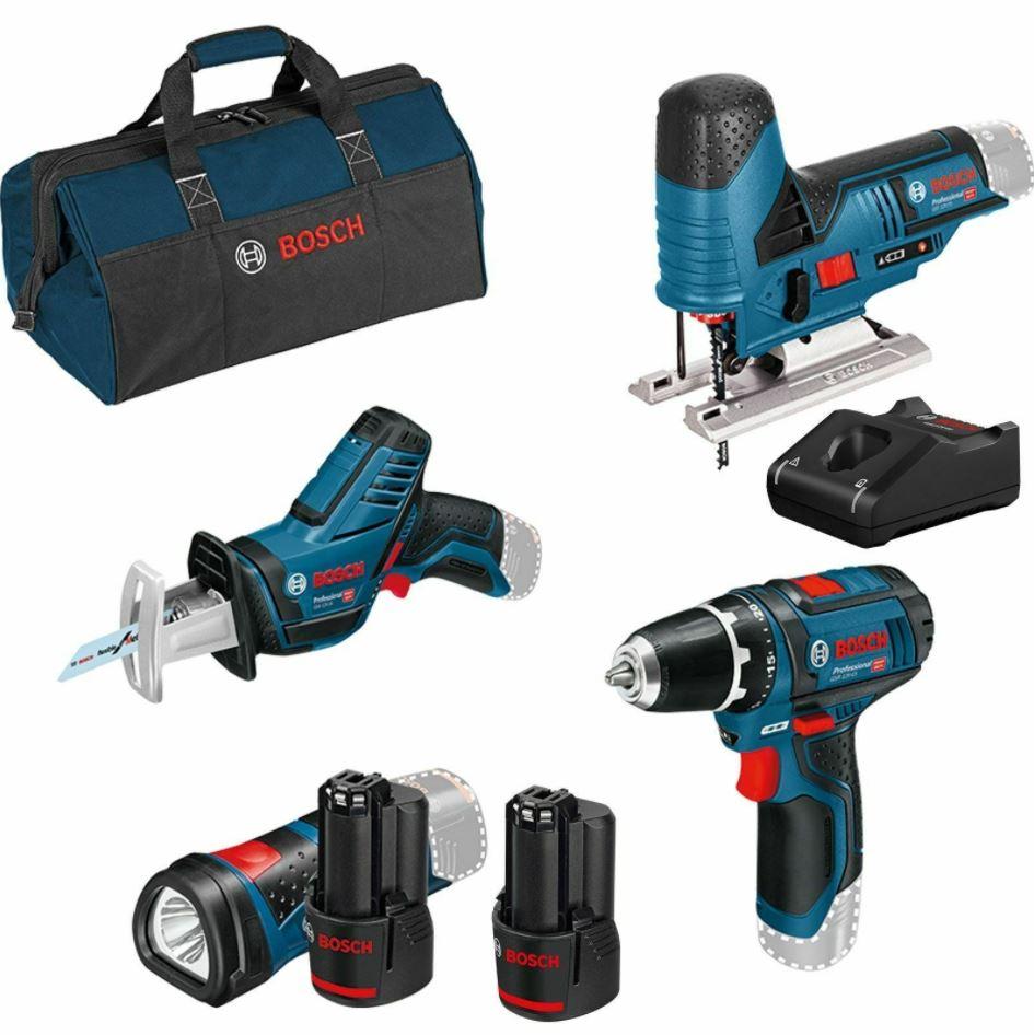 Bild zu Bosch 4er-Akku-Werkzeug-Set 12V: GSR + GSA + GST + GLI 12V / 2×2,0Ah + Ladegerät für nur 242,10€ (VG: 314,90€)