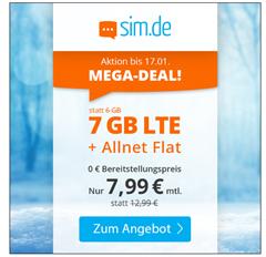 Bild zu o2 Tarif mit einer 7GB LTE Datenflat, SMS und Sprachflat für 7,99€/Monat
